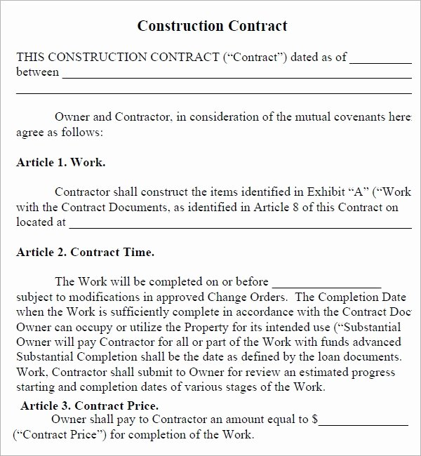 Construction Contract Template Free Best Of Construction Contract 7 Free Pdf Download