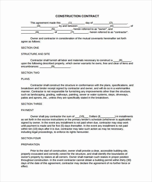 Construction Contract Template Free Fresh Free 10 Construction Contract Templates In Pdf