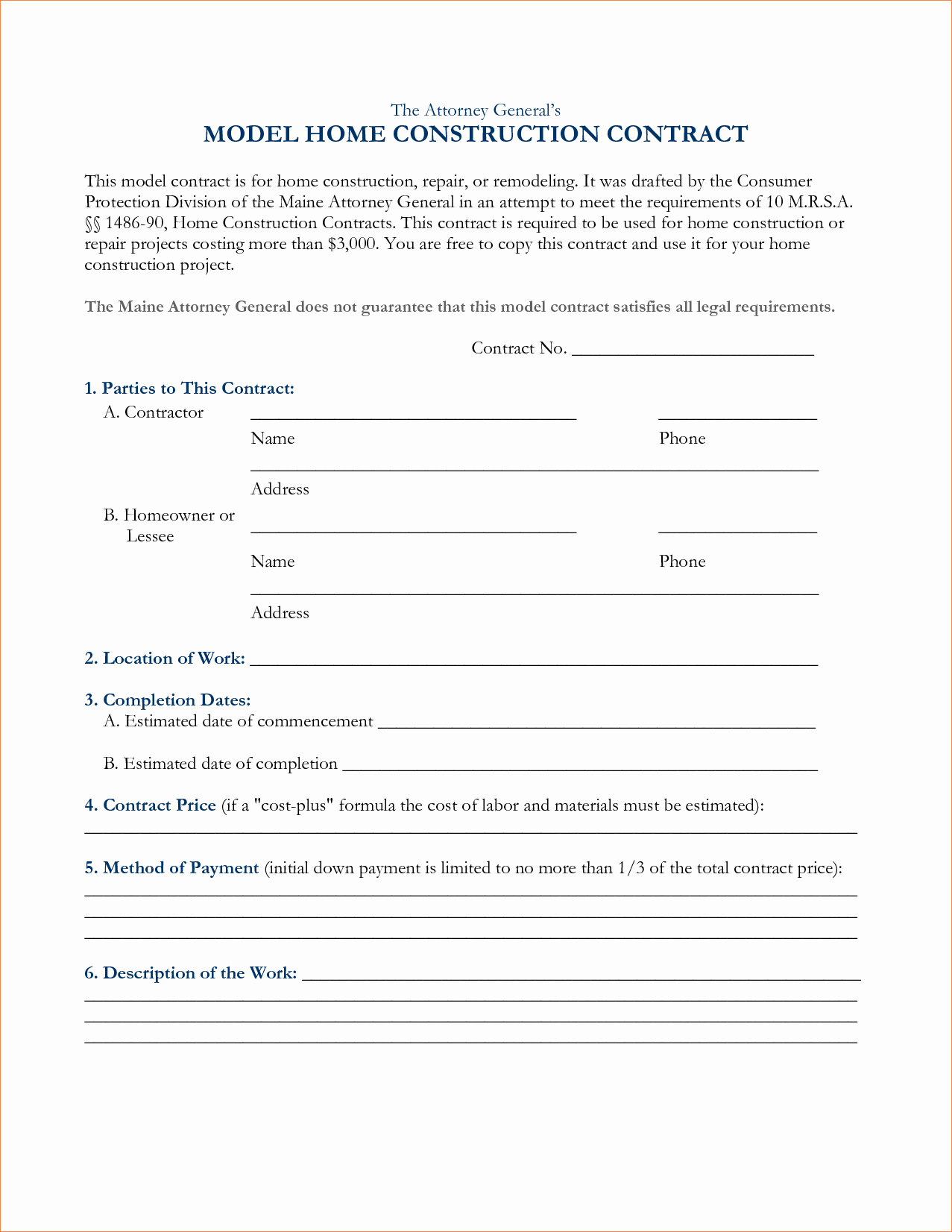 Construction Contract Template Free Inspirational Construction Contract Template
