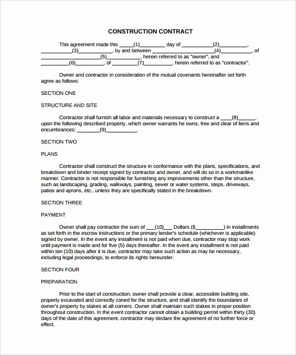 Construction Contract Template Free Inspirational Simple Construction Contract 8 Construction Contract