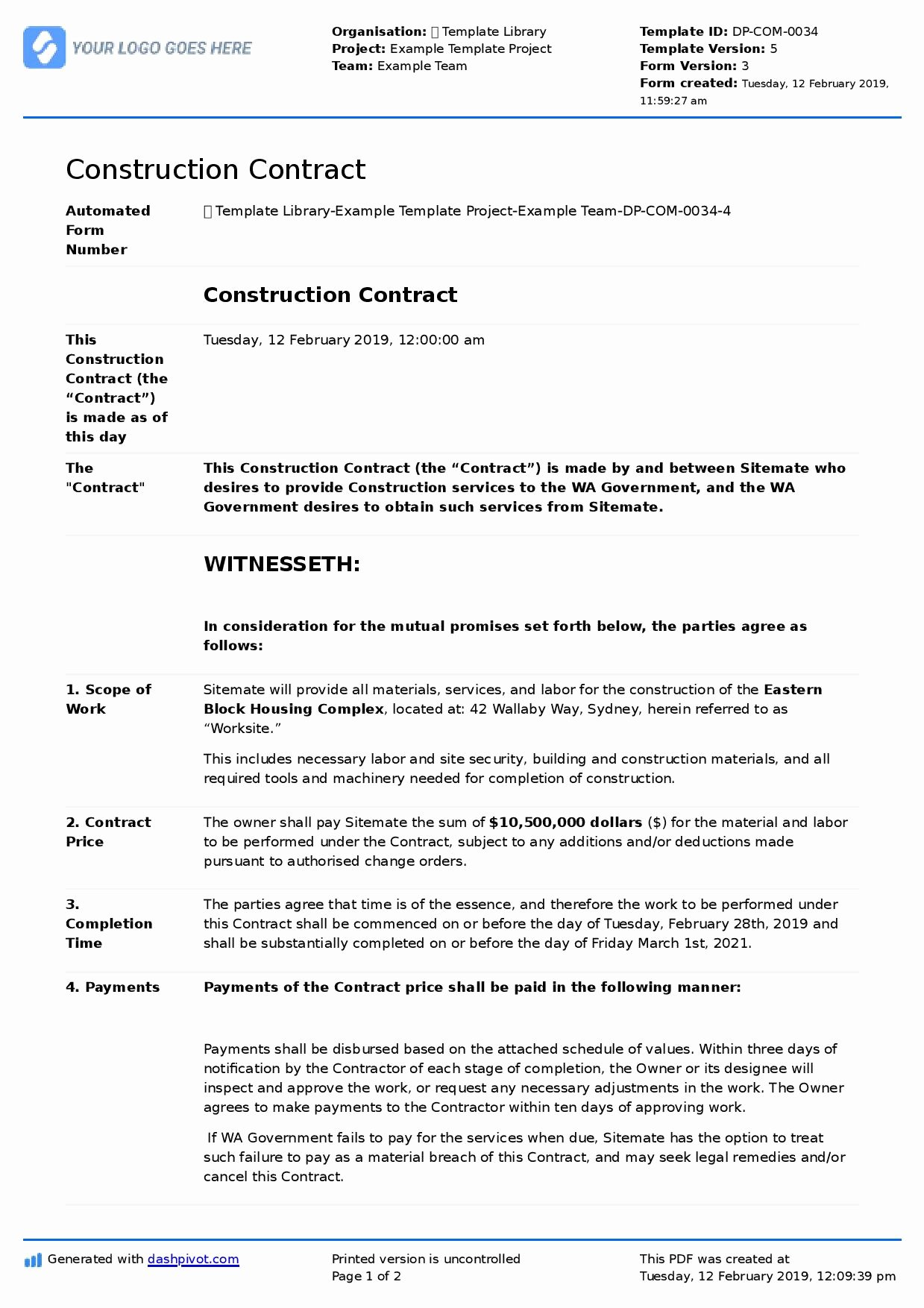 Construction Contract Template Free Luxury Construction Contract Sample Better Than Word and Pdf
