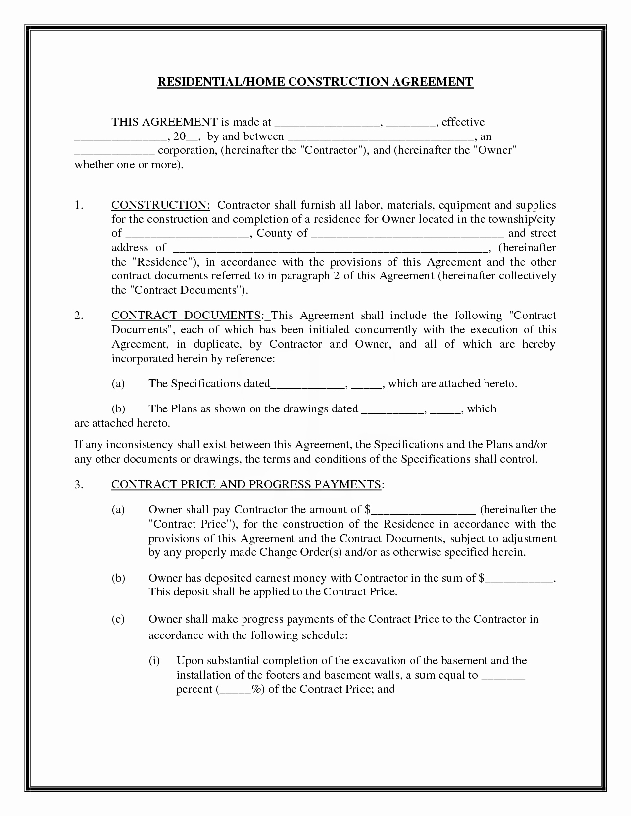 Construction Contract Template Free Luxury Residential Home Construction Agreement by Readybuiltforms