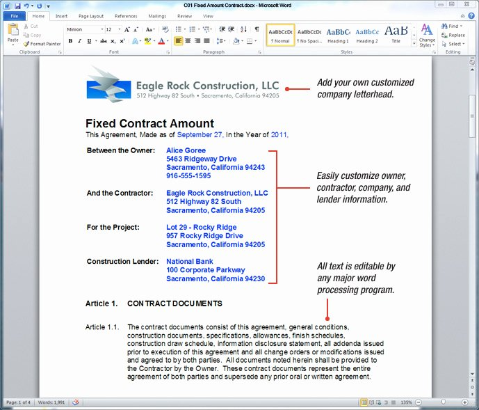 Construction Contract Template Free Luxury Uda Constructiondocs California Construction Contract