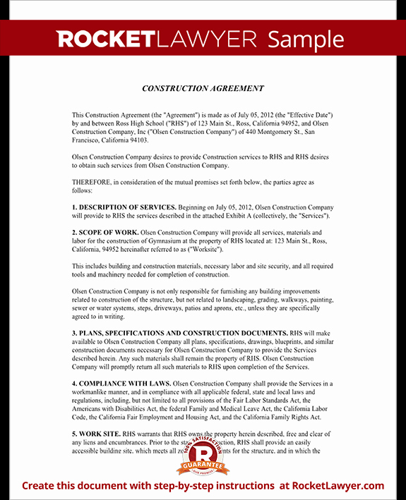 Construction Contract Template Free New Construction Contract Template Construction Agreement form