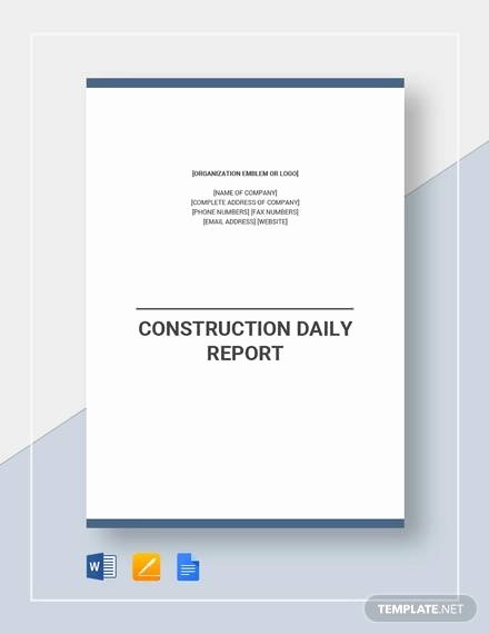 Construction Daily Report Template Elegant Free 26 Sample Daily Reports In Google Docs
