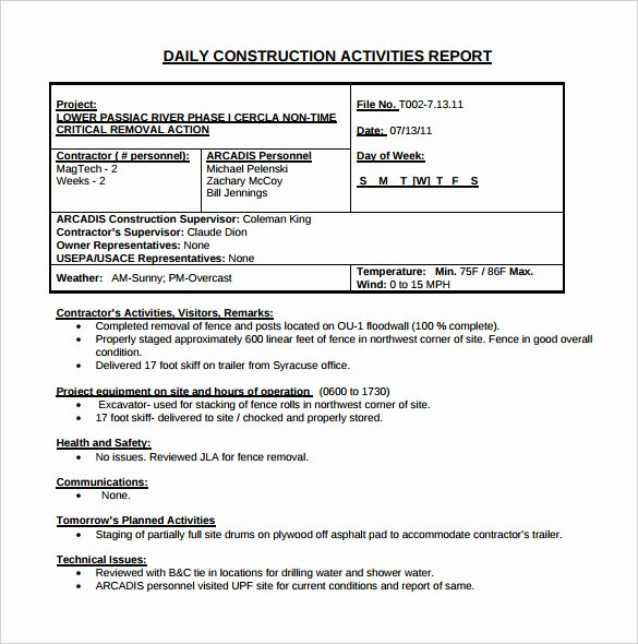 Construction Daily Report Template Free Luxury 24 Daily Construction Report Templates Pdf Google Docs