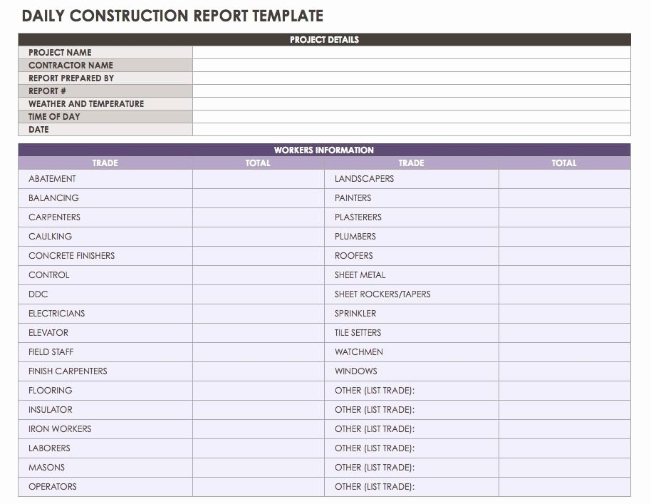 Construction Daily Report Template Free Luxury Construction Daily Report Template Excel