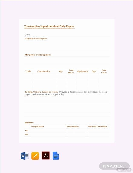 Construction Daily Report Template Free New Free Construction Superintendent Daily Report Template
