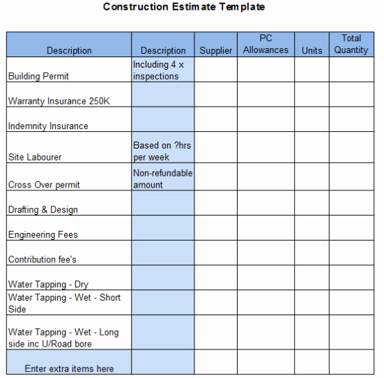 Construction Estimate Template Word Best Of 6 Best Free Construction Estimate Templates