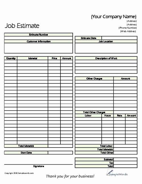 Construction Estimate Template Word Elegant Estimate Printable forms & Templates