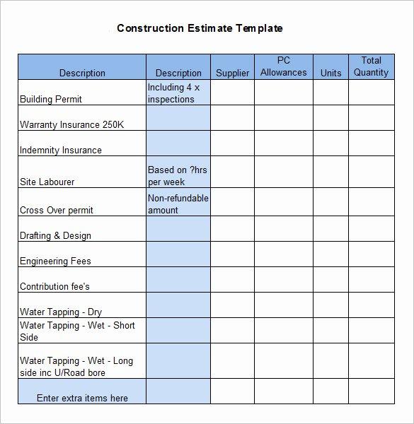 Construction Estimate Template Word Unique Free Construction Estimate Template Excel