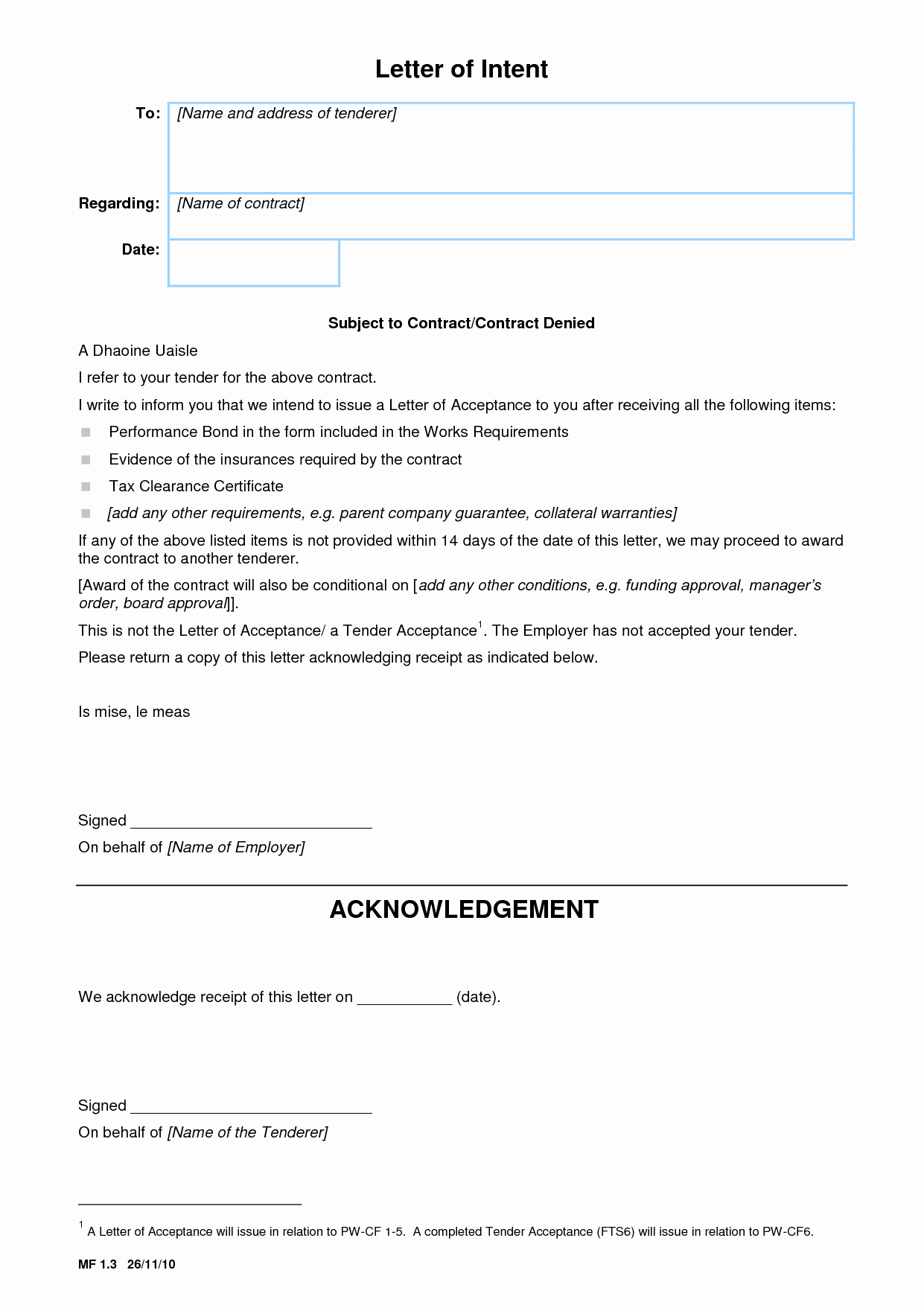 Construction Letter Of Intent Template Awesome Best S Of Letter Intent Construction