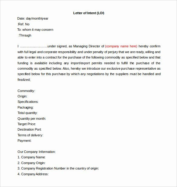 Construction Letter Of Intent Template Awesome Free Intent Letter Templates 18 Free Word Pdf