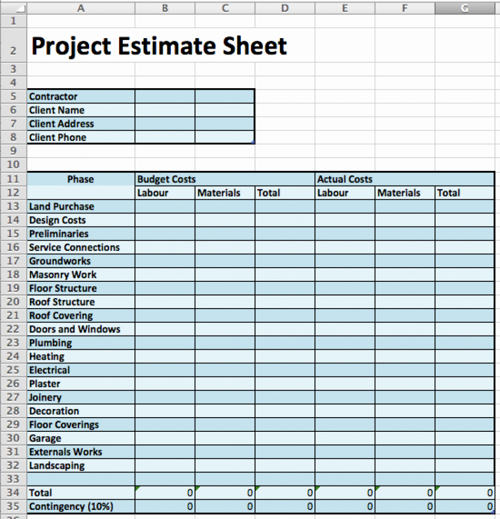 Construction Project Budget Template Awesome 4 Of the Best Design and Construction Cost Estimation