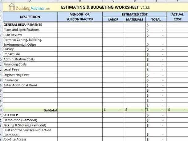 Construction Project Budget Template Elegant 6 Best Free Construction Estimate Templates