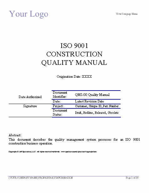 Construction Quality Control Plan Template Luxury Download Aisc Quality Manual Template Free software