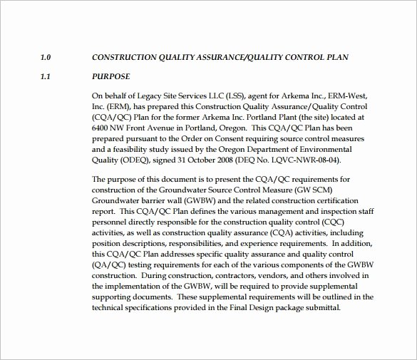 Construction Quality Control Plan Template New 13 Quality Control Plan Templates Word Pdf Google