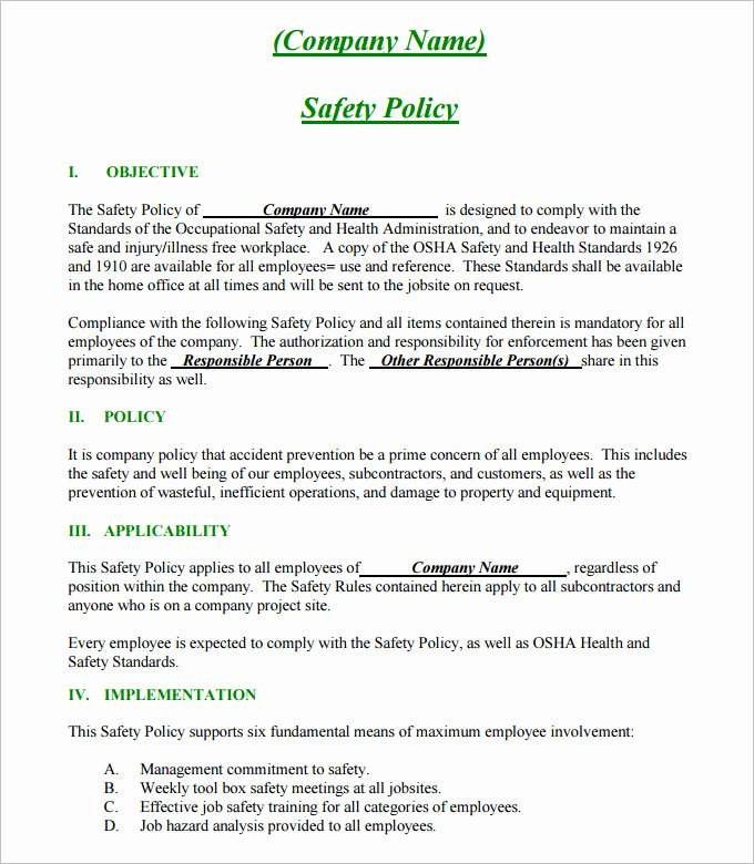 Construction Safety Manual Template Awesome Construction Safety Plan Template 19 Free Word Pdf
