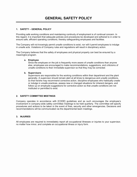 Construction Safety Manual Template Awesome Pany Safety Policy – Printable Year Calendar