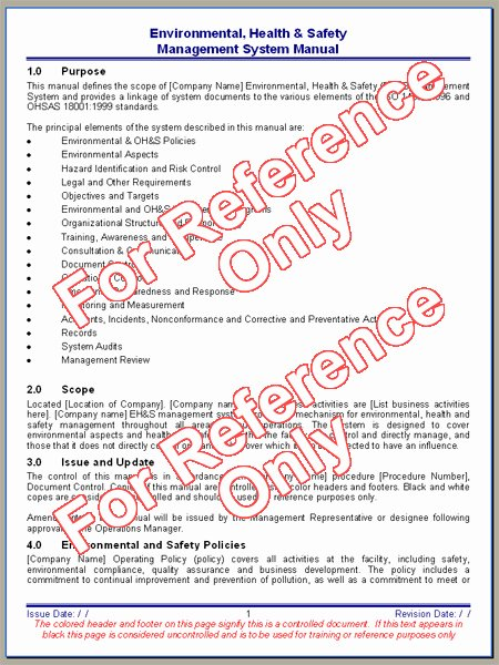 Construction Safety Manual Template Fresh Environmental Health and Safety Manual Template