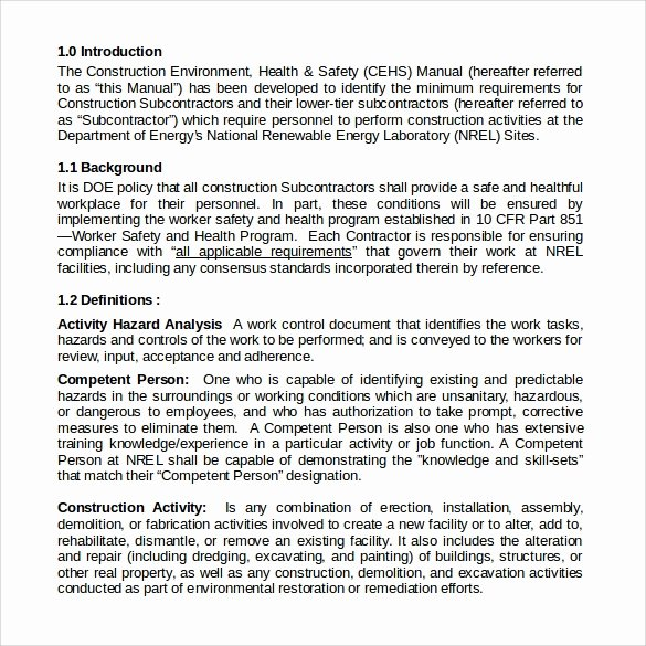 Construction Safety Manual Template Luxury Safety Manual Sample 13 Example format