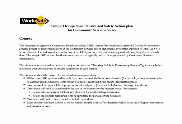 sample health and safety plan