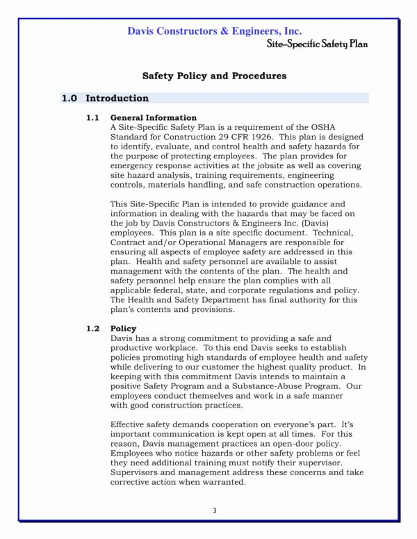 Construction Safety Plan Template Free Fresh Free 14 Construction Safety Plan Template In Pdf