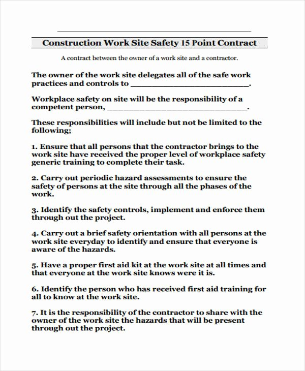 Construction Safety Plan Template Free Lovely Safety Contract Templates 9 Free Word Pdf format