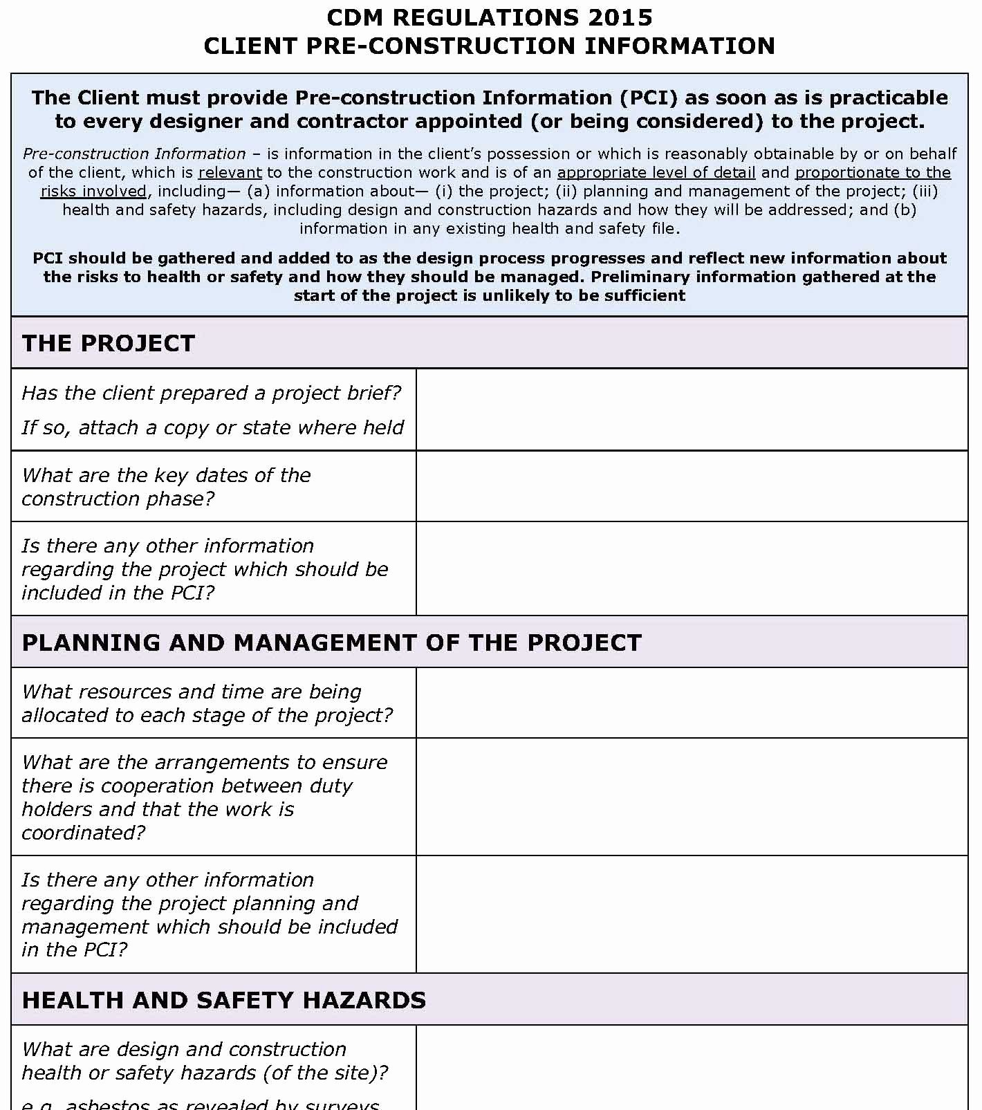 Construction Safety Plan Template Free Unique Cdm Regulations 2015 Client Pci Template