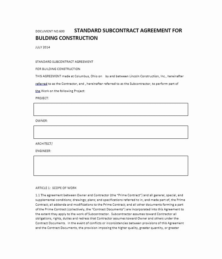Construction Subcontractor Agreement Template Beautiful Need A Subcontractor Agreement 39 Free Templates Here