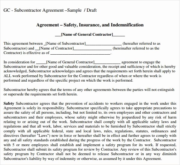 Construction Subcontractor Agreement Template Best Of Free 17 Subcontractor Agreement Templates In Pdf