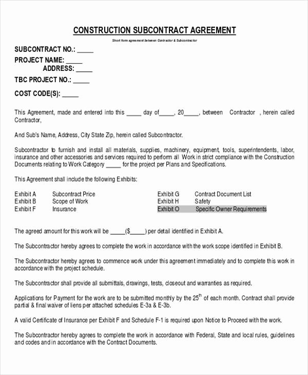 Construction Subcontractor Agreement Template Elegant 28 Construction Agreement forms & Templates Word Pdf