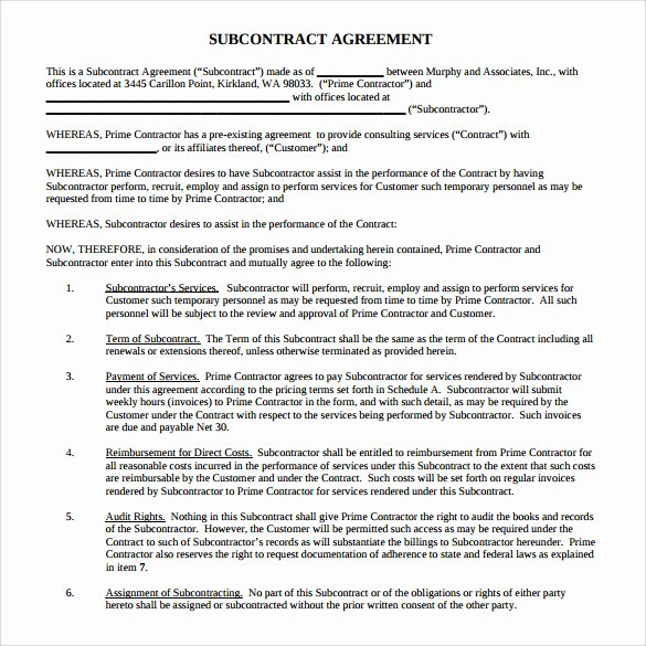 Construction Subcontractor Agreement Template Elegant Sample Subcontractor Agreement 14 Documents In Pdf Word