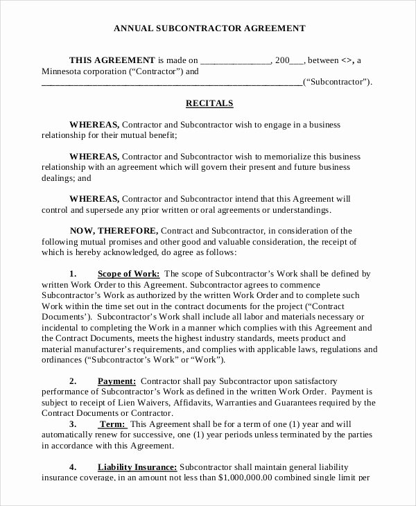Construction Subcontractor Agreement Template Elegant Sample Subcontractor Agreement 9 Examples In Pdf Word