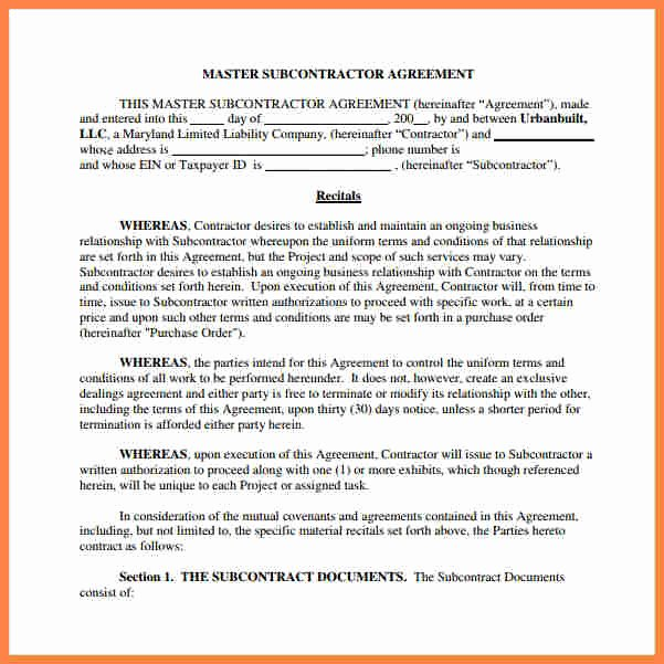 Construction Subcontractor Agreement Template Inspirational 9 Construction Subcontractor Agreement Template
