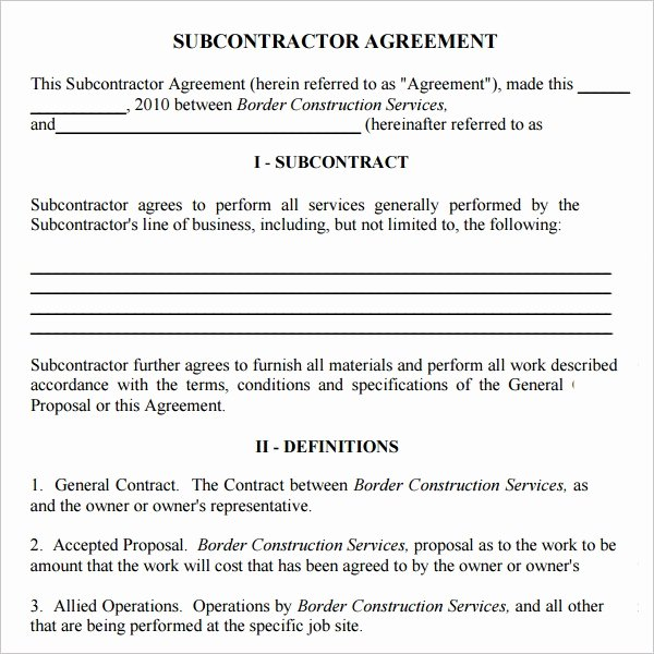 Construction Subcontractor Agreement Template Inspirational Contractor and Subcontractor Agreement