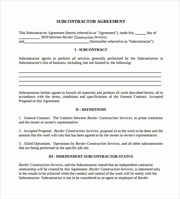 Construction Subcontractor Agreement Template Inspirational Sample Subcontractor Agreement 14 Documents In Pdf Word