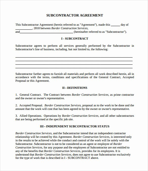 Construction Subcontractor Agreement Template Lovely Contractor and Subcontractor Agreement