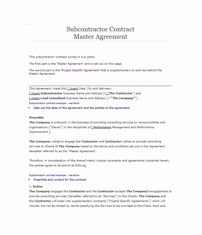 Construction Subcontractor Agreement Template Lovely Need A Subcontractor Agreement 39 Free Templates Here