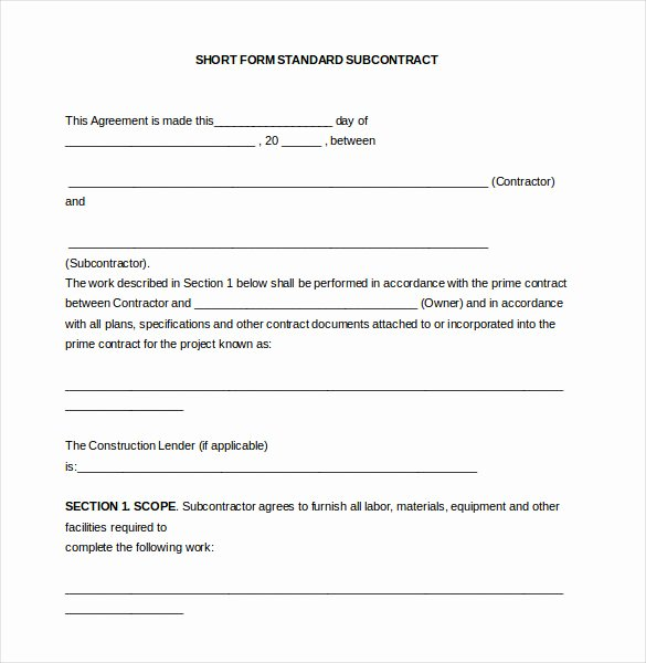 Construction Subcontractor Agreement Template Luxury Subcontracting Agreement