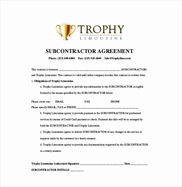 Construction Subcontractor Agreement Template New Subcontractor Agreement Template