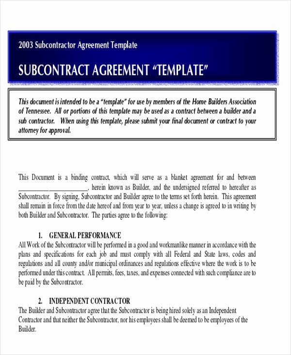 Construction Subcontractor Agreement Template Unique 28 Construction Agreement forms & Templates Word Pdf