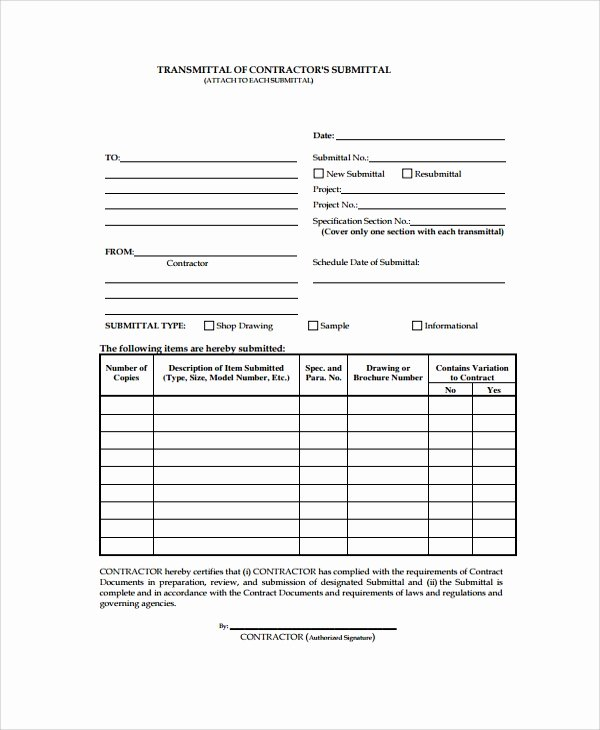 Construction Submittal Cover Sheet Template Lovely 8 Sample Submittal Transmittal forms Pdf Word