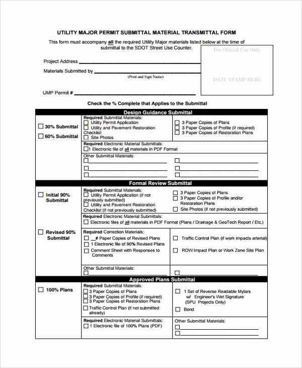 Construction Submittal Cover Sheet Template Unique 8 Sample Submittal Transmittal forms Pdf Word