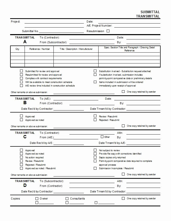 Construction Submittal form Template Awesome Submittal Transmittal Cms