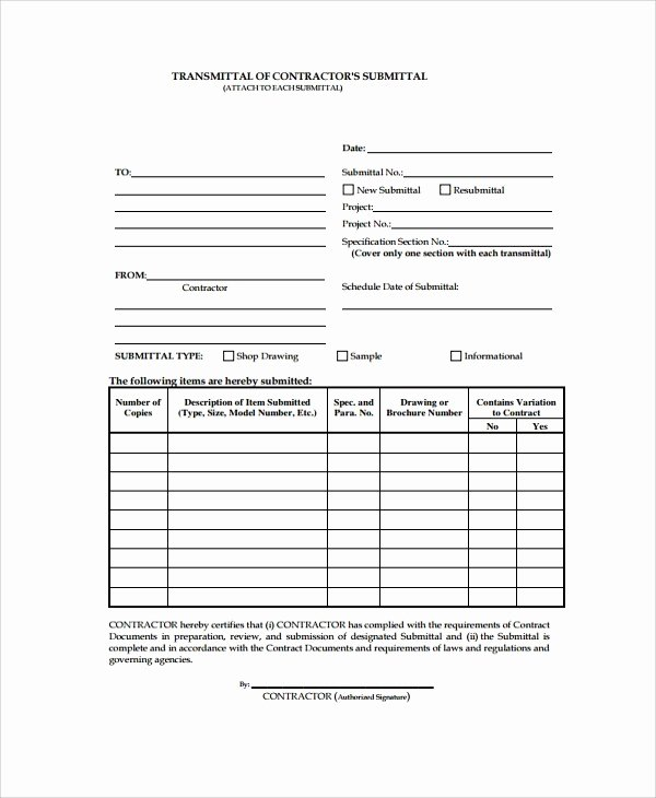 Construction Submittal form Template Elegant Transmittal form – Fearsome Transmittal form Templates