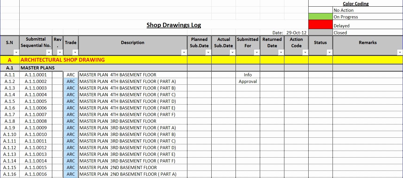Construction Submittal form Template Fresh How to Create A Shop Drawings Log with Sample File