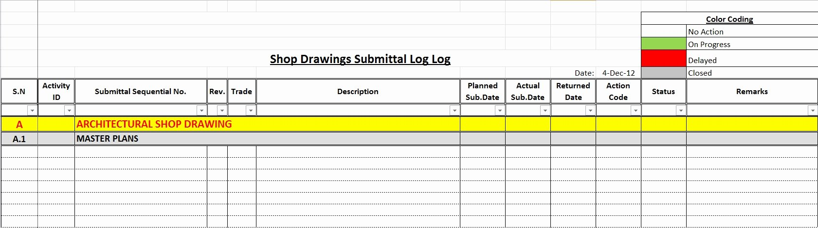 Construction Submittal form Template New How to Create A Shop Drawings Log with Sample File
