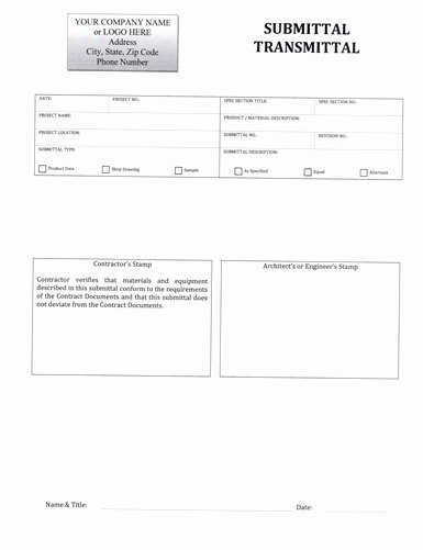 Construction Submittal form Template New Submittal Transmittal form $5 99 Download now