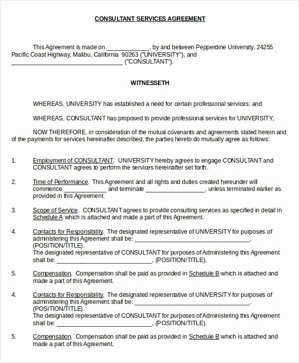 Consulting Agreement Template Free Fresh 18 Consulting Agreement Templates Word Docs